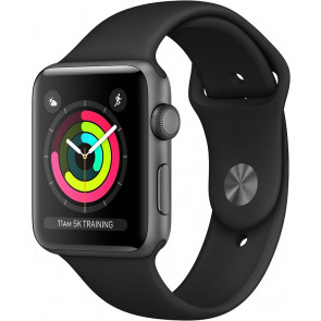 Apple Watch Series 3 GPS, 42 mm Aluminium­gehäuse spacegrau, Sportarmband schwarz