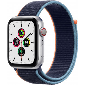 Apple Watch SE GPS+Cell, 40mm Alu Silber, Sport Loop Dunkelmarine