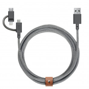 3-in-1, Micro-USB, Lightning, USB-C auf USB-Kabel 2m, zebra, grau, Native Union