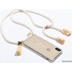 Etuui Necklace-Cover für iPhone 11/XR, clear, Kordel Weiss