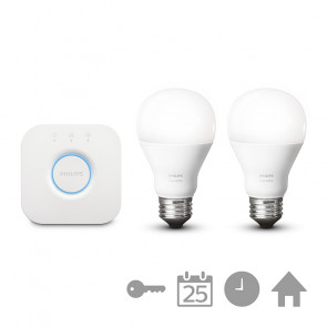 Philips Hue White Starterset: 2x E27 Lampen; Bridge v2