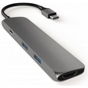Satechi USB-C zu HDMI, 2x USB 3.0 + USB-C  Adapter, spacegrau