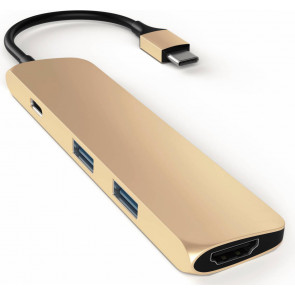 Satechi USB-C zu HDMI, 2x USB 3.0 + USB-C  Adapter, gold